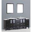 """Bosconi Contemporary 84"""" Double Bathroom Vanity Set with Mirror"""