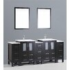 """Bosconi Contemporary 84"""" Vanity Set with Double Sink"""