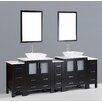 "Bosconi Contemporary 96"" Double Bathroom Vanity Set with Mirror"