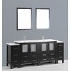 "Bosconi Contemporary 84"" Double Sink Bathroom Vanity Set with Mirror"