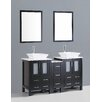 "Bosconi Contemporary 60"" Double Bathroom Vanity Set with Mirror"
