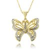 Gem Jolie Gold Overlay and Diamond Accent Filigree Butterfly Necklace