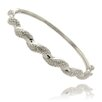 Gem Jolie Silver Overlay and Diamond Accent Twist Bangle
