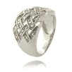 Gem Jolie Silver Overlay Diamond Accent Weave Design Ring