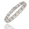 Gem Jolie Silver Overlay Diamond Accent Greek Key Design Bracelet
