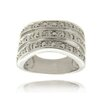 <strong>Gem Jolie</strong> Silver Overlay Diamond Accent Triple Band Ring