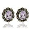 Gem Jolie Silver Overlay Marcasite and Oval GemstoneStud Earrings