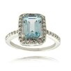 <strong>Gem Jolie</strong> Silver Overlay Diamond Accent Emerald Cut Blue Topaz Ring