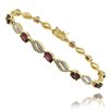 <strong>Gem Jolie</strong> Gold Ovelay Sapphire and Diamond Accent Marquise Design Bracelet