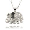 <strong>Gem Jolie</strong> Silver Overlay Diamond Accent Black and White Elephant Necklace