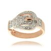 Gem Jolie Rose Gold Overlay Diamond Accent Buckle Design Ring