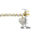 <strong>Gem Jolie</strong> Gold Overlay Diamond Accent 'S' Design Heart Charm Bracelet