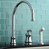 Kingston Brass Restoration Single Handle Widespread Kitchen Faucet with Non-Metallic Spray