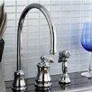 Kingston Brass Restoration Single Handle Widespread Kitchen Faucet with Brass Spray