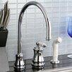 Kingston Brass Restoration Single Handle Widespread Kitchen Faucet with Non-Metallic Spray