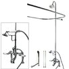 Kingston Brass Vintage Double Handle Deck Mount Center Clawfoot Tub Fixture with Shower Riser Package