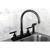 Kingston Brass Water Onyx Centerset Kitchen Faucet with Lever Handles and Matching Side Spray
