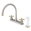 Kingston Brass Vintage Double Handle Goose Neck Kitchen Faucet with Sprayer