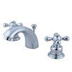 <strong>Kingston Brass</strong> Victorian Double Handle Widespread Mini Bathroom Faucet with Brass Pop-Up Drain