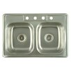 "<strong>Kingston Brass</strong> Carefree 33"" x 22"" Double Bowl Self-Rimming Kitchen Sink"