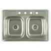 "Kingston Brass Carefree 33"" x 22"" Double Bowl Self-Rimming Kitchen Sink"