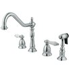 <strong>Kingston Brass</strong> Heritage Double Handle Widespread Kitchen Faucet with Brass Spray