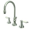 Kingston Brass Governor Double Handle Widespread Bathroom Faucet with Brass Pop-Up Drain