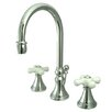 <strong>Kingston Brass</strong> Governor Double Handle Widespread Bathroom Faucet with Brass Pop-Up Drain