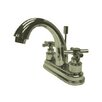 Kingston Brass Elinvar Double Handle Centerset Bathroom Faucet with Brass Pop-Up Drain
