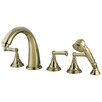 Kingston Brass Roman Three Handle Roman Tub Filler with Hand Shower