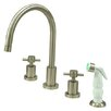 <strong>Kingston Brass</strong> Concord Double Handle Widespread Kitchen Faucet with Non-Metallic Spray