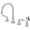 <strong>Kingston Brass</strong> NuFrench Double Handle Deck Mount Kitchen Faucet with Brass Spray