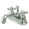 Kingston Brass Restoration Double Handle Centerset Bathroom Sink Faucet with Brass Pop-up