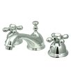 <strong>Kingston Brass</strong> Restoration Double Handle Widespread Bathroom Sink Faucet with Brass Pop-up