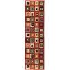Ottomanson Ottohome Dark Red Boxes Area Rug