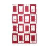 E By Design Decorative Geometric Area Red/White Area Rug