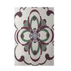 E By Design Decorative Floral Off White/Purple Area Rug