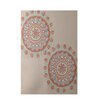 E By Design Decorative Geometric Beige/Coral Area Rug