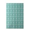 E By Design Decorative Coastal Aqua/Gray Area Rug
