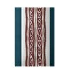 E By Design Decorative Stripe Teal/Rust Area Rug