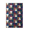 E By Design Decorative Geometric Brown/Teal Area Rug