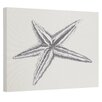 E By Design Coastal Starfish Painting Print on Wrapped Canvas in Gray