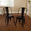 TMS Avalon Stackable Metal Chair in Black (Set of 2)