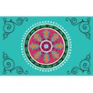 Thumbprintz Boho Medallion Square Turquoise Area Rug