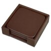 <strong>Dacasso</strong> 1000 Series Classic Leather Four Square Coasters with Holder in Chocolate Brown