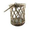 Blossom Bucket Wicker Basket with Glass Hurricane