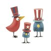 Blossom Bucket 3 Piece Americana Birds with Hats Statue Set