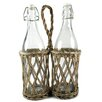 <strong>Blossom Bucket</strong> Two Place Wicker Bottle Holder with Bottles