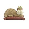<strong>Blossom Bucket</strong> Cat with Crown on Pillow Statue