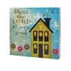 """Blossom Bucket Decorative """"Bless The Lord"""" Wall Box Sign with House"""